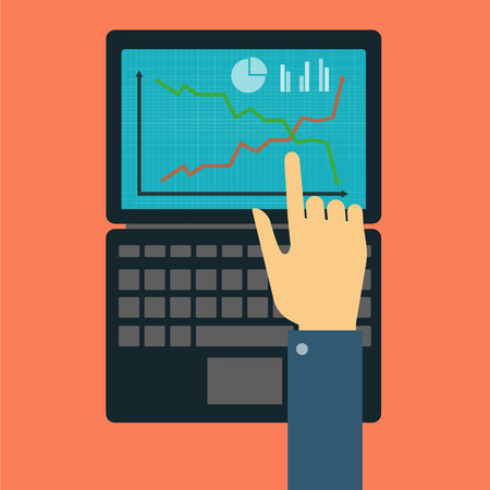 financial market: Hand showing on the laptop with the curve of the financial market Illustration