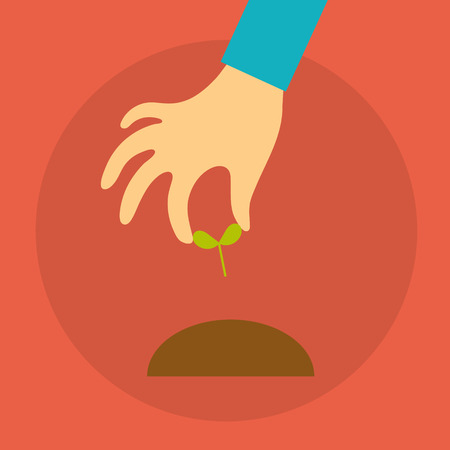 seedlings: Vector crowdfunding concept in flat style - hand of a person holding seedlings Illustration