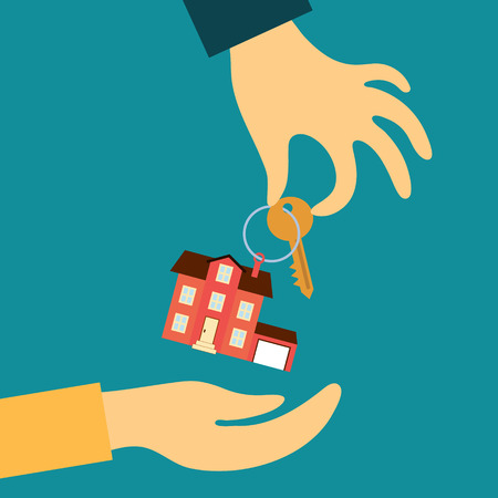 real estate icons: Vector real estate concept in flat style - hand real estate agent holding transmits a key with a tag in the form of a home buyer