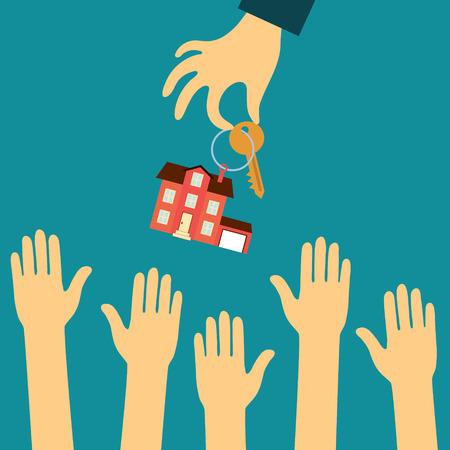 Wektor nieruchomości koncepcja w płaskim stylu - strony agenta nieruchomości gospodarstwo posiada klucz ze znacznikiem w postaci domów, a kupujący wyciągając ręce. Popyt i podaż