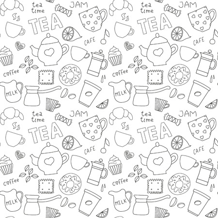 Seamless Doodle pattern with tea, cups and sweets Vector