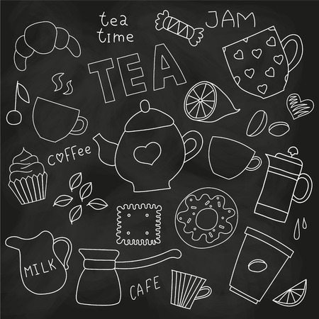 Doodle set of tea and coffee cups, and sweets and things for tea party on the blackboard
