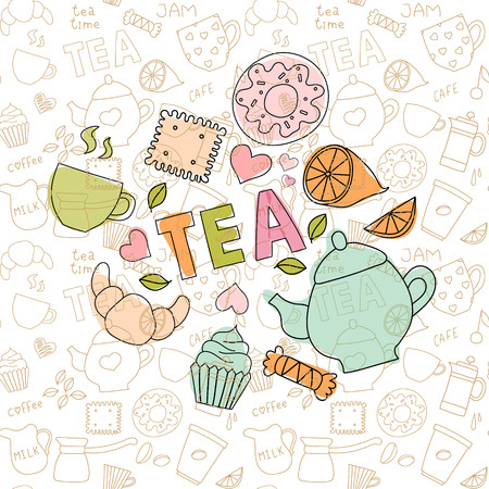 Gentle colored doodle sweets and tea items in the confectionery pattern Vector