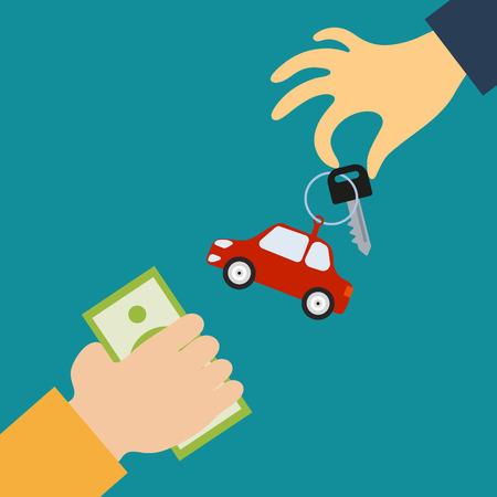 adentro y afuera: Concepto del vector en estilo plano - la mano del vendedor sostiene una llave con una etiqueta en forma de coche el comprador, que a cambio proporciona el dinero