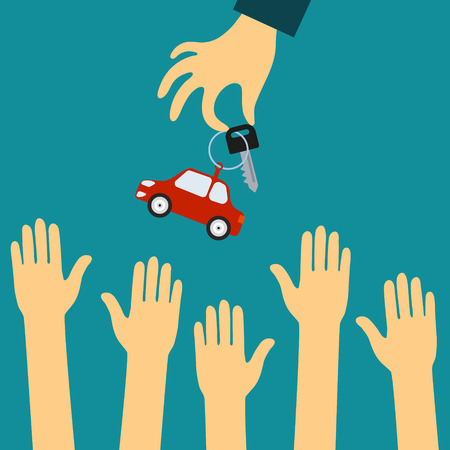 Vector concept in flat style - the hand of the seller holds out a key with a tag in the form of car buyers. Demand and supply