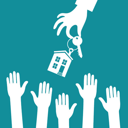 estate agent: Vector real estate concept in flat style - hand real estate agent holding holds a key with a tag in the form of homes, and buyer is pulling his hands. Demand and supply Illustration