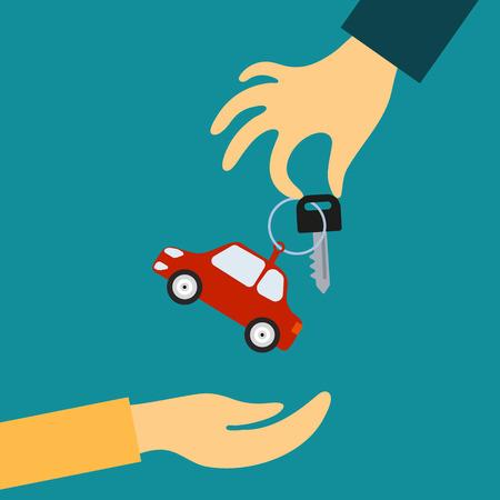 Vektor-Konzept in flachen Stil - die Hand des Verkäufers hält einen Schlüssel mit einem Tag in Form von Auto in der Hand für den Käufer. Nachfrage und Angebot