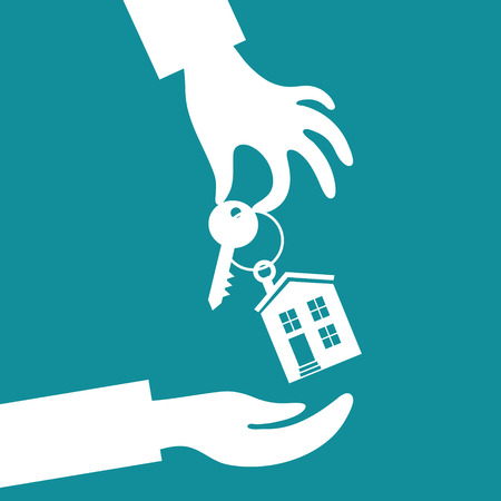 trinkets: Vector real estate concept in flat style - hand real estate agent holding holds a key with a tag in the form of homes, and buyer is pulling his hands. Demand and supply Illustration