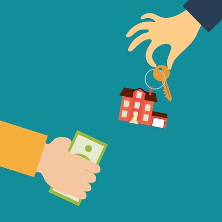 Vector concepto de las propiedades inmobiliarias en estilo plano