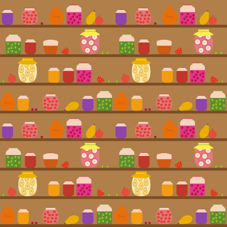larder: Seamless pattern with banks with different jam on the shelves. Illustration