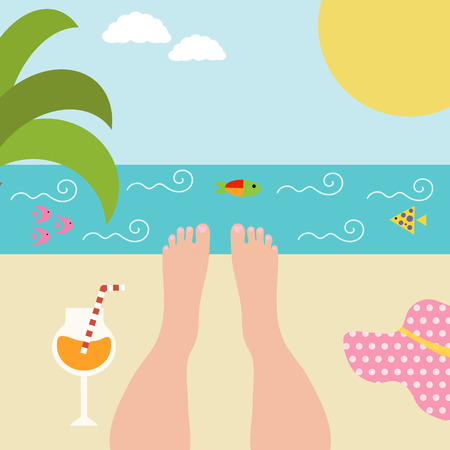 woman resting: Summer background with womens feet at the seaside.