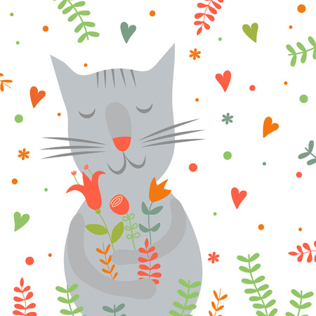 Cute cartoon smiling cat with floral print and hearts. You can use to design greeting cards and childrens printing
