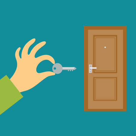 peephole: Flat design vector illustration concept. Hand with a key opens or closes the door. Secret data security, buy or rent real estate Illustration