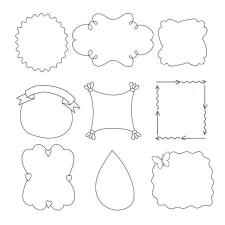 hand drown: Set of simple funny black frame, drawn by hand, on a white background Illustration