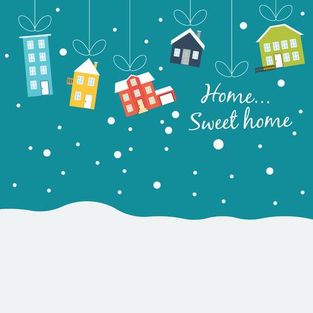 landschap: Vector winter concept in de flat style.Cute winter huizen, bedekt met sneeuw, opknoping op een draad, zoals kerstballen. kerstverkopen