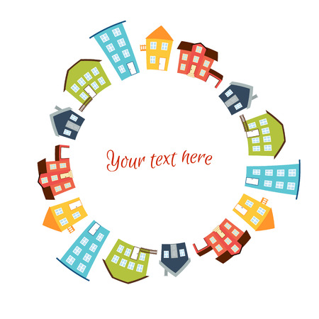 Vector illustration. Circular frame of bright cute houses. Real estate concept Ilustrace