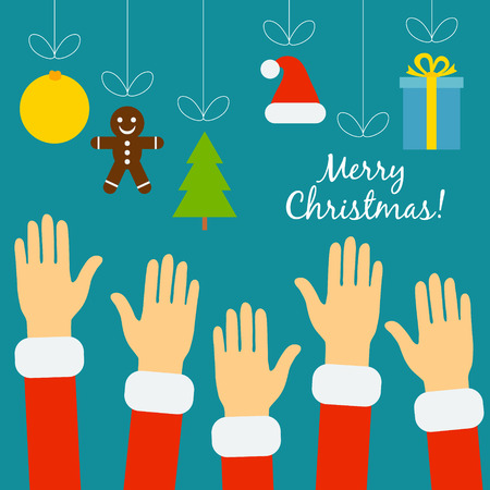 Vector christmas concept in flat style. Hands of the people in Santa costumes are drawn to the Christmas symbols that hung on threads, among them ball, Christmas tree, Santa hat, gift. Christmas sales