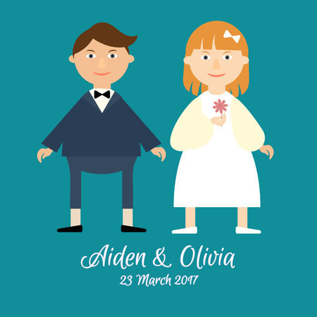 cute couple: Flat vector cute couple in love celebrating a wedding