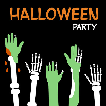 Hands zombies and skeletons are drawn to the inscription Halloween, an invitation to a party Illusztráció