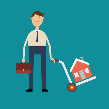 Vector real estate concept in flat style. Agent for the sale of real estate or a home buyer holding a portfolio, and also carries a cart with house