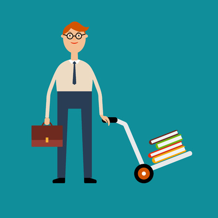 Vector educational concept in flat style. Student with glasses holding a briefcase and pushing a cart with a pile of books