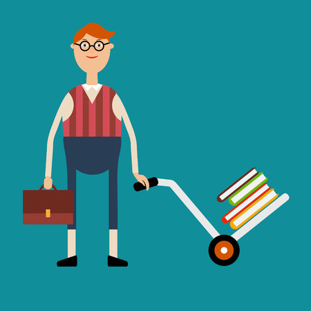 Vector educational concept in flat style.Student with glasses holding a briefcase and pushing a cart with a pile of books
