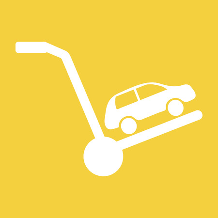 Vector concept in flat style - car is on a cart, symbolizing the sale, rental or transportation