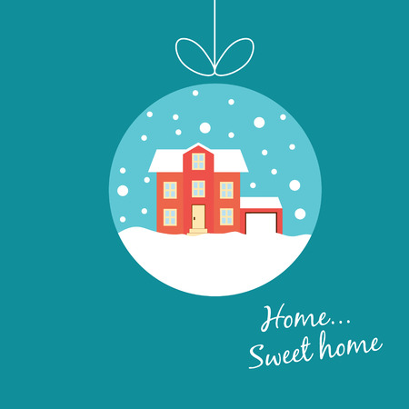 Vector winter concept in flat style. Cute winter house, covered with snow, hanging on a thread, like Christmas balls. Christmas sales