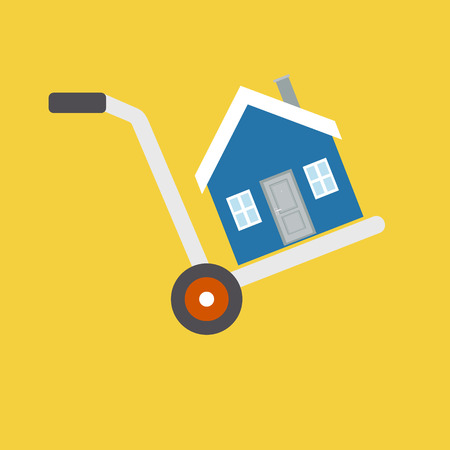 Vector concept in flat style - house is on a cart, symbolizing the sale, rental, moving or trailer