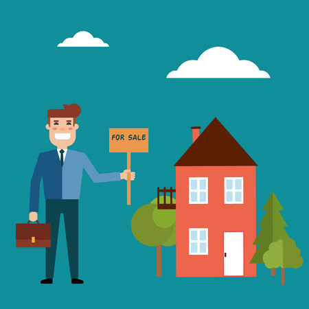 Vector real estate concept in flat style. Agent for the sale of real estate or a home buyer holding a portfolio and a sign saying the sale of real estate. Supply and demand
