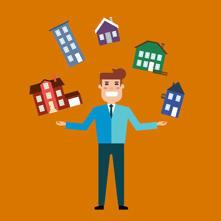 broad: Flat design vector illustration real estate concept. Seller with a broad smile, juggling houses