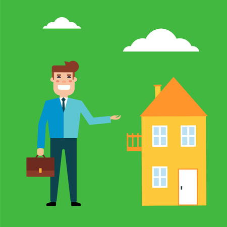 Flat design vector illustration real estate concept. Seller holds the portfolio and offers to buy or rent housing. The real estate market, supply and demand