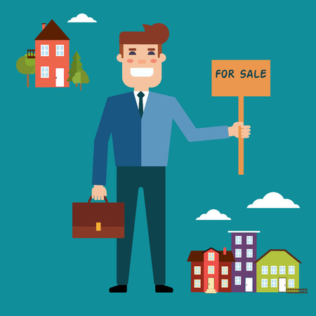 Vector real estate concept in flat style. Agent for the sale of real estate or a home buyer holding a portfolio and a sign saying the sale of real estate. Supply and demand in the city and outside the city