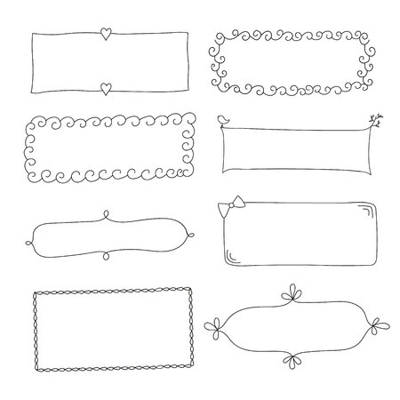 Set of simple funny black frame, drawn by hand, on a white background. Can be used in scrapbooking