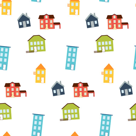 Vector illustration. Simple seamless pattern of bright cute houses. Real estate concept