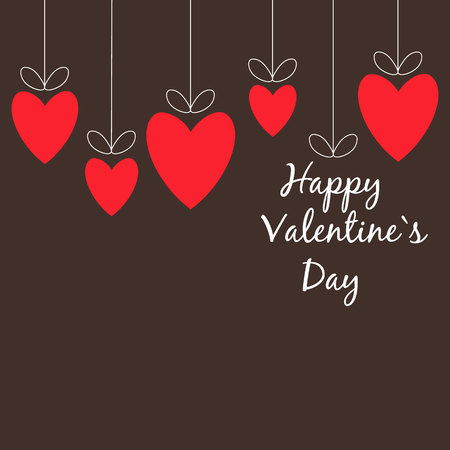 Valentines Day red hearts on brown background Ilustrace