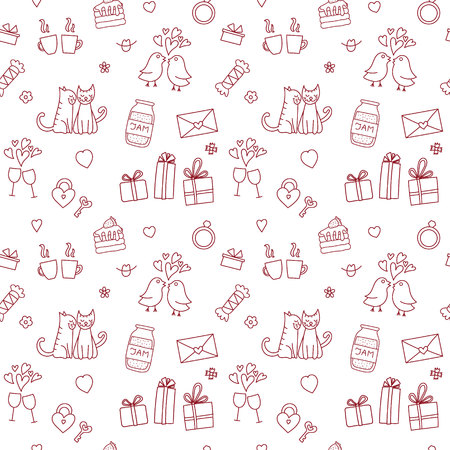 Seamless pattern for valentine's day with red cats, gifts, hearts and flowers
