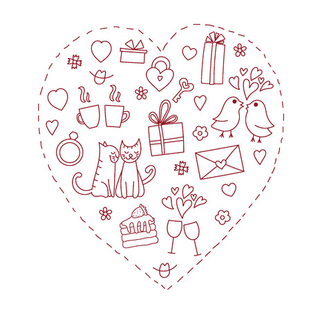 Hand drawn doodle heart shaped Valentine's elements such as red cats, gifts, hearts and flowers