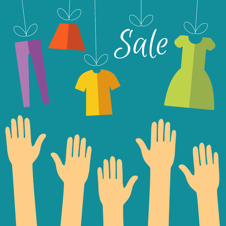 Flat illustration clearance sale concept. Hands of buyers are drawn to clothes, which is hanging by a thread. Supply and demand. Closeout