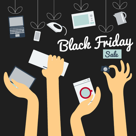 Flat design illustration black friday concept. Sale of household appliances concept in flat style. Hands of buyers are drawn to home appliances, which is hanging by a thread. Supply and demand. Closeout