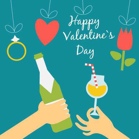 Valentine's day concept in flat style. Hands of the people keep a bottle of champagne and a cocktail on top of the threads hang the symbols of the holiday - heart, flower and diamond ring