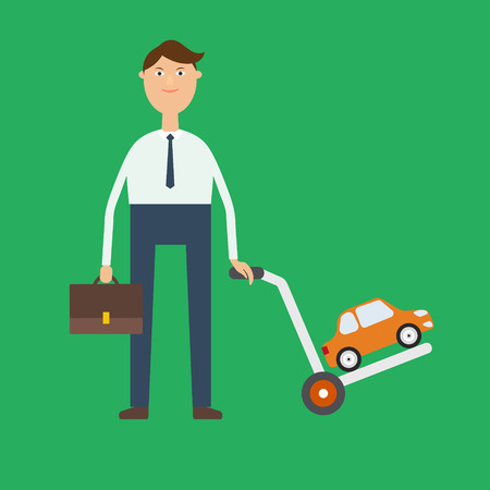 cars sale image in flat style. Joyful the seller or the buyer carries a cart with the machine. Demand and supply