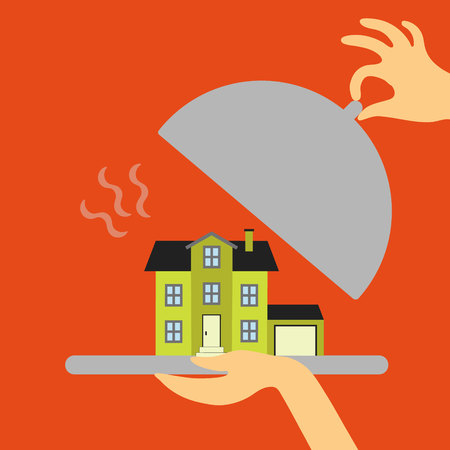 real estate concept in flat style - hand real estate agent or a waiter holding a plate of hot offer - new home. Demand and supply
