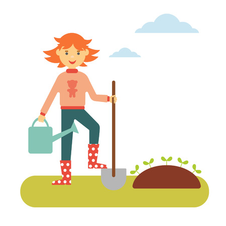 flat spring concept. Red-haired girl with a shovel and a watering can makes planting in the garden Ilustrace