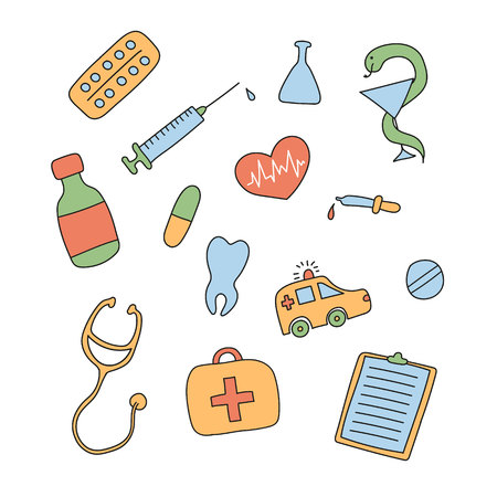 Set of colored hand-drawn medical doodles Reklamní fotografie - 52370045