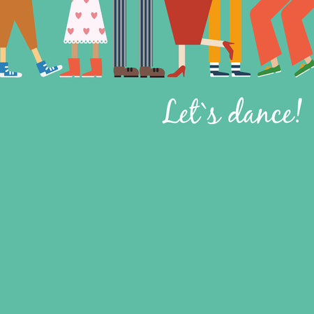 dancing concept. Dancing feet different couples, men and women dance modern and classical dances. Let's dance Ilustrace