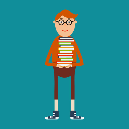 educational concept in flat style. Student with glasses holding a stack of books