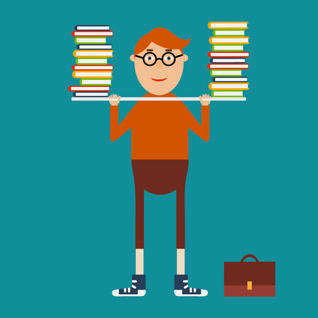cross bar: educational concept in flat style. Student with glasses holding the bar with books. Knowledge is power