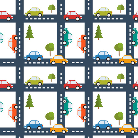 Bright seamless background with road and cars. Road map. illustration Ilustrace