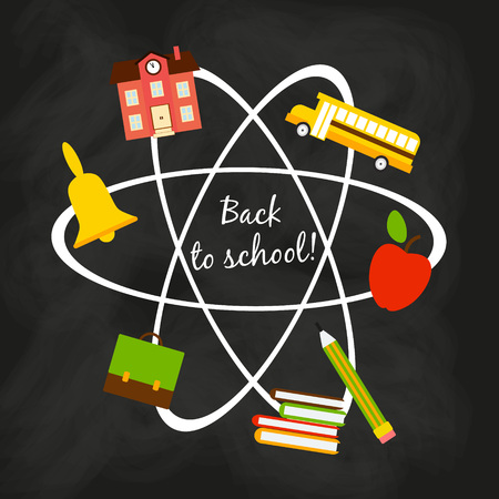 back to school concept in flat style. School subjects are the outlines of the atom on the black board background Ilustrace